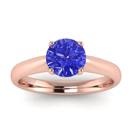 14k Rose Gold Aine Tapered Band Sapphire Ring