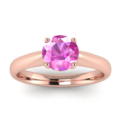 14k Rose Gold Aine Tapered Band Pink Sapphire Ring