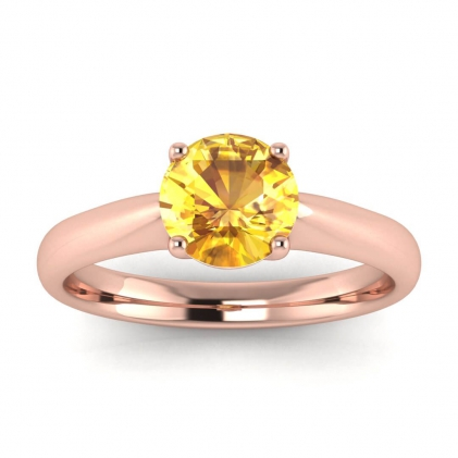 14k Rose Gold Aine Tapered Band Yellow Sapphire Ring