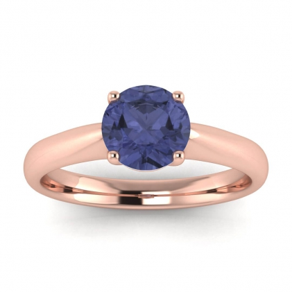 14k Rose Gold Aine Tapered Band Tanzanite Ring