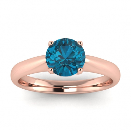 14k Rose Gold Aine Tapered Band Blue Topaz Ring