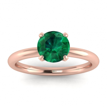 14k Rose Gold Maja Classic Emerald Solitaire Ring