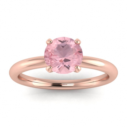 14k Rose Gold Maja Classic Rose Quartz Solitaire Ring