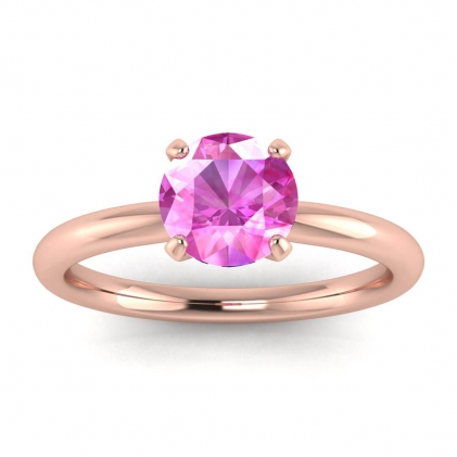 14k Rose Gold Maja Classic Pink Sapphire Solitaire Ring
