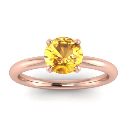 14k Rose Gold Maja Classic Yellow Sapphire Solitaire Ring