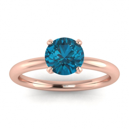 14k Rose Gold Maja Classic Blue Topaz Solitaire Ring