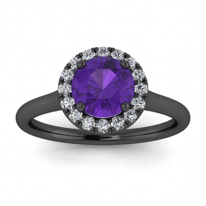 14k Black Gold Anne Delicate Halo Amethyst and Diamond Ring (1/5 CT. TW.)