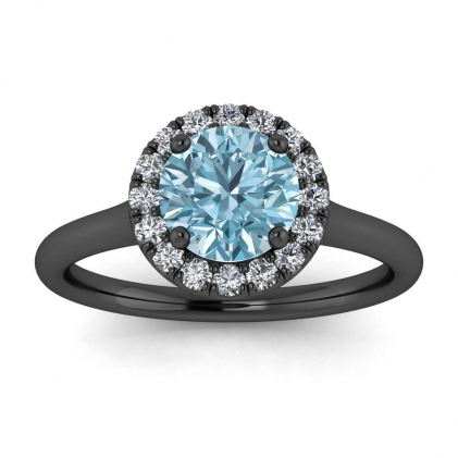 14k Black Gold Anne Delicate Halo Aquamarine and Diamond Ring (1/5 CT. TW.)