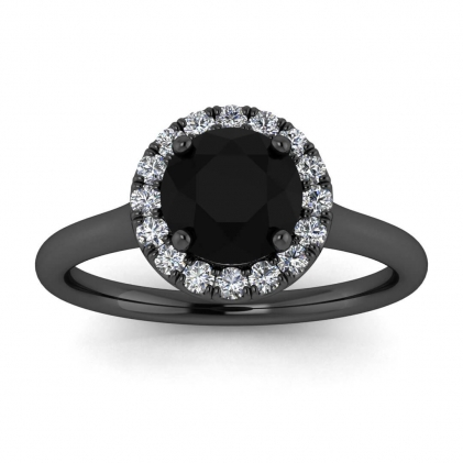 14k Black Gold Anne Delicate Halo Black Diamond and Diamond Ring (1/5 CT. TW.)