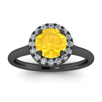 14k Black Gold Anne Delicate Halo Citrine and Diamond Ring (1/5 CT. TW.)