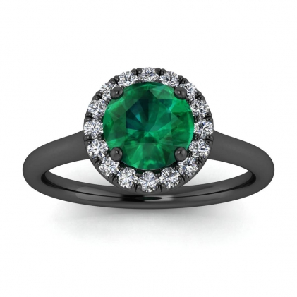 14k Black Gold Anne Delicate Halo Emerald and Diamond Ring (1/5 CT. TW.)