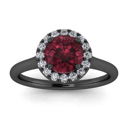 14k Black Gold Anne Delicate Halo Garnet and Diamond Ring (1/5 CT. TW.)