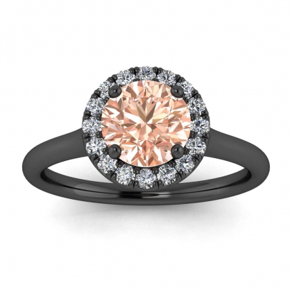 14k Black Gold Anne Delicate Halo Morganite and Diamond Ring (1/5 CT. TW.)