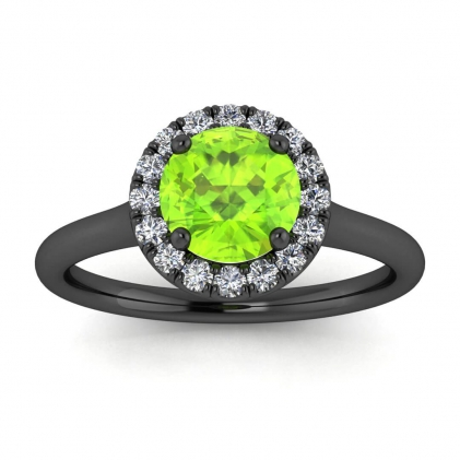 14k Black Gold Anne Delicate Halo Peridot and Diamond Ring (1/5 CT. TW.)
