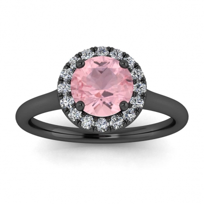 14k Black Gold Anne Delicate Halo Rose Quartz and Diamond Ring (1/5 CT. TW.)