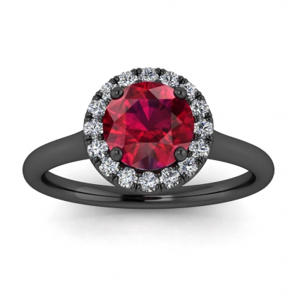14k Black Gold Anne Delicate Halo Ruby and Diamond Ring (1/5 CT. TW.)