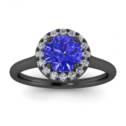 14k Black Gold Anne Delicate Halo Sapphire and Diamond Ring (1/5 CT. TW.)