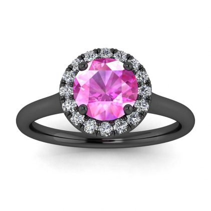 14k Black Gold Anne Delicate Halo Pink Sapphire and Diamond Ring (1/5 CT. TW.)