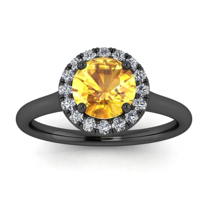 14k Black Gold Anne Delicate Halo Yellow Sapphire and Diamond Ring (1/5 CT. TW.)