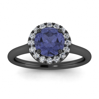 14k Black Gold Anne Delicate Halo Tanzanite and Diamond Ring (1/5 CT. TW.)