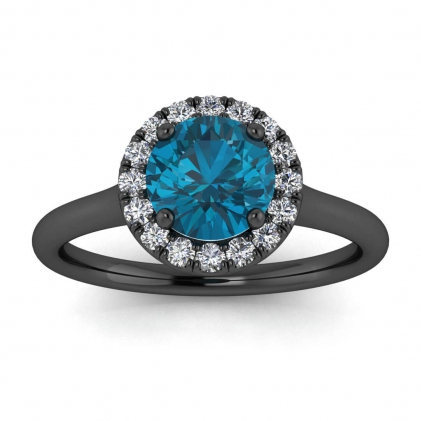 14k Black Gold Anne Delicate Halo Blue Topaz and Diamond Ring (1/5 CT. TW.)