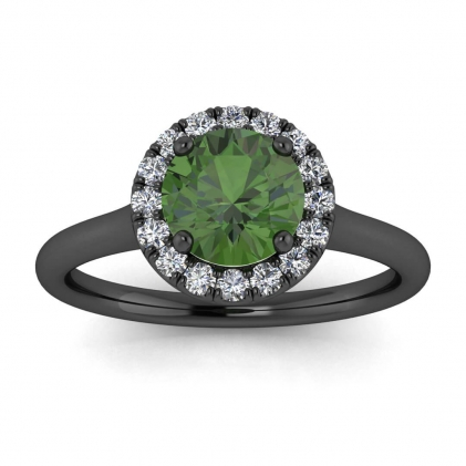 14k Black Gold Anne Delicate Halo Green Tourmaline and Diamond Ring (1/5 CT. TW.)
