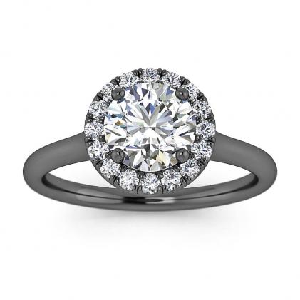 14k Black Gold Anne Delicate Halo Diamond Ring (1/5 CT. TW.)