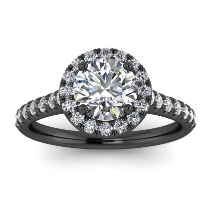 14k Black Gold Anika Luxurious Pave Diamond Halo Ring (3/7 CT. TW.)