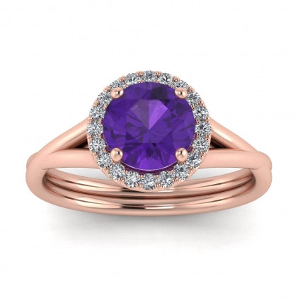 14k Rose Gold Beverly Double Band Amethyst and Diamond Halo (1/10 CT. TW.)