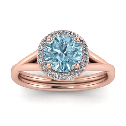 14k Rose Gold Beverly Double Band Aquamarine and Diamond Halo (1/10 CT. TW.)