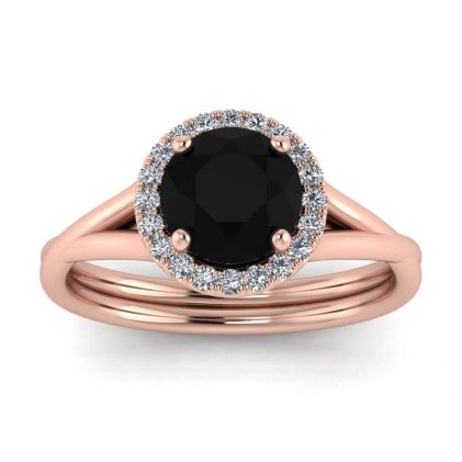14k Rose Gold Beverly Double Band Black Diamond and Diamond Halo (1/10 CT. TW.)