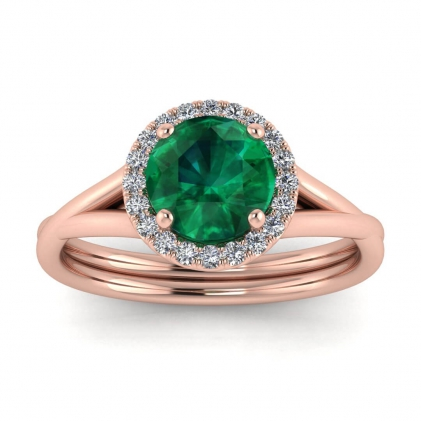 14k Rose Gold Beverly Double Band Emerald and Diamond Halo (1/10 CT. TW.)