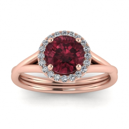 14k Rose Gold Beverly Double Band Garnet and Diamond Halo (1/10 CT. TW.)