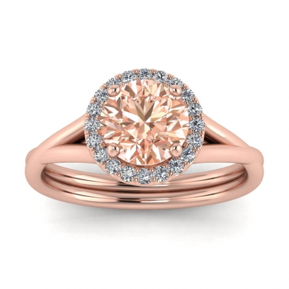 14k Rose Gold Beverly Double Band Morganite and Diamond Halo (1/10 CT. TW.)