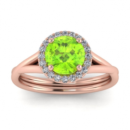 14k Rose Gold Beverly Double Band Peridot and Diamond Halo (1/10 CT. TW.)