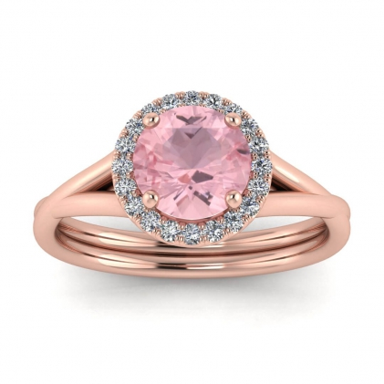 14k Rose Gold Beverly Double Band Rose Quartz and Diamond Halo (1/10 CT. TW.)