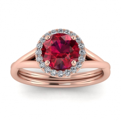 14k Rose Gold Beverly Double Band Ruby and Diamond Halo (1/10 CT. TW.)