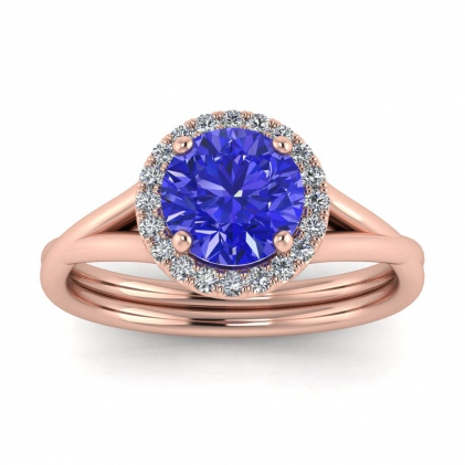 14k Rose Gold Beverly Double Band Sapphire and Diamond Halo (1/10 CT. TW.)