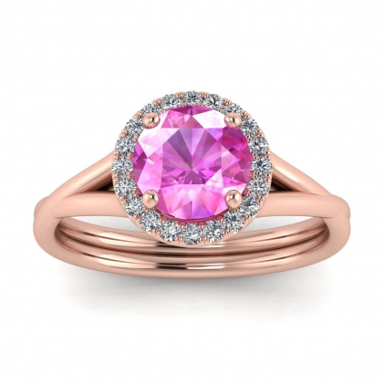 14k Rose Gold Beverly Double Band Pink Sapphire and Diamond Halo (1/10 CT. TW.)
