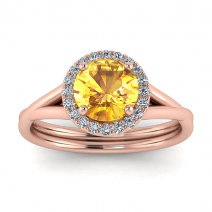 14k Rose Gold Beverly Double Band Yellow Sapphire and Diamond Halo (1/10 CT. TW.)