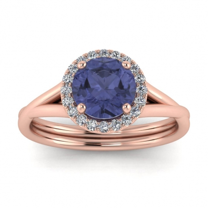 14k Rose Gold Beverly Double Band Tanzanite and Diamond Halo (1/10 CT. TW.)