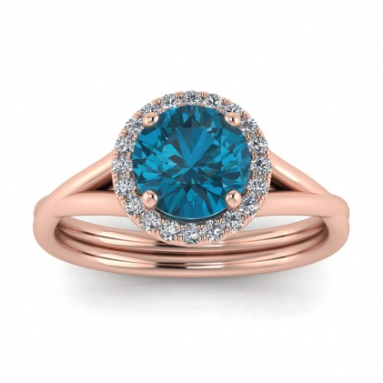 14k Rose Gold Beverly Double Band Blue Topaz and Diamond Halo (1/10 CT. TW.)