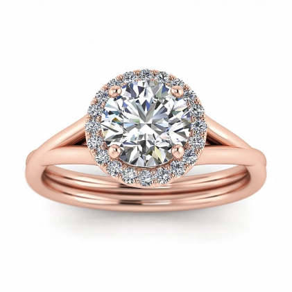 14k Rose Gold Beverly Double Band Diamond Halo (1/10 CT. TW.)