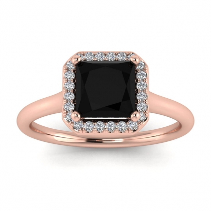 14k Rose Gold Adah Delicate Band Princess Cut Black Diamond and Diamond Ring (1/3 CT. TW.)