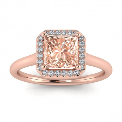 14k Rose Gold Adah Delicate Band Princess Cut Morganite and Diamond Ring (1/3 CT. TW.)