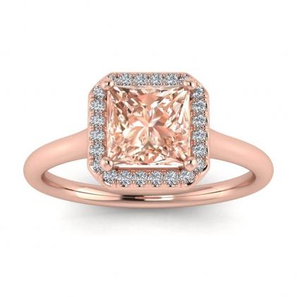 14k Rose Gold Adah Delicate Band Princess Cut Morganite and Diamond Ring (1/3 CT. TW.)