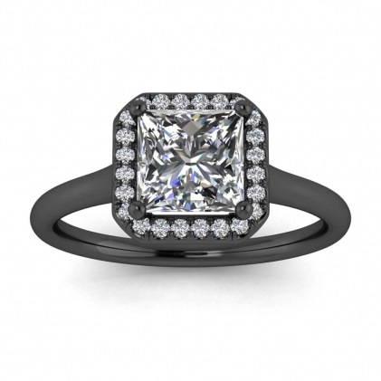 14k Black Gold Adah Delicate Band Princess Cut Diamond Ring (1/3 CT. TW.)