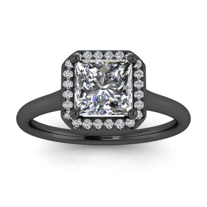 14k Black Gold Adah Delicate Band Princess Cut Diamond Ring (1/3 CT. TW.)