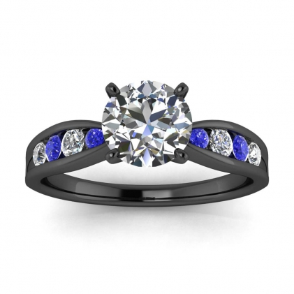 14k Black Gold Maven Tapered Channel Set Diamond and Sapphire Ring