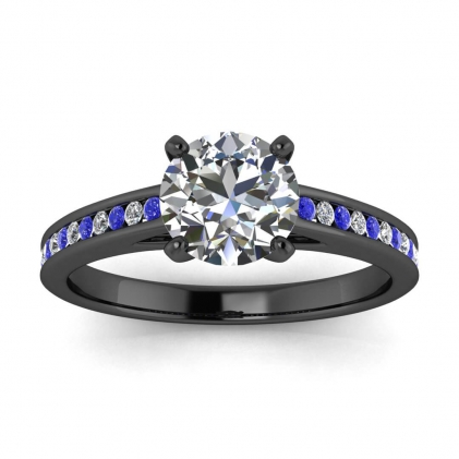 14k Black Gold Mei Channel Set Diamond and Sapphire Engagement Ring